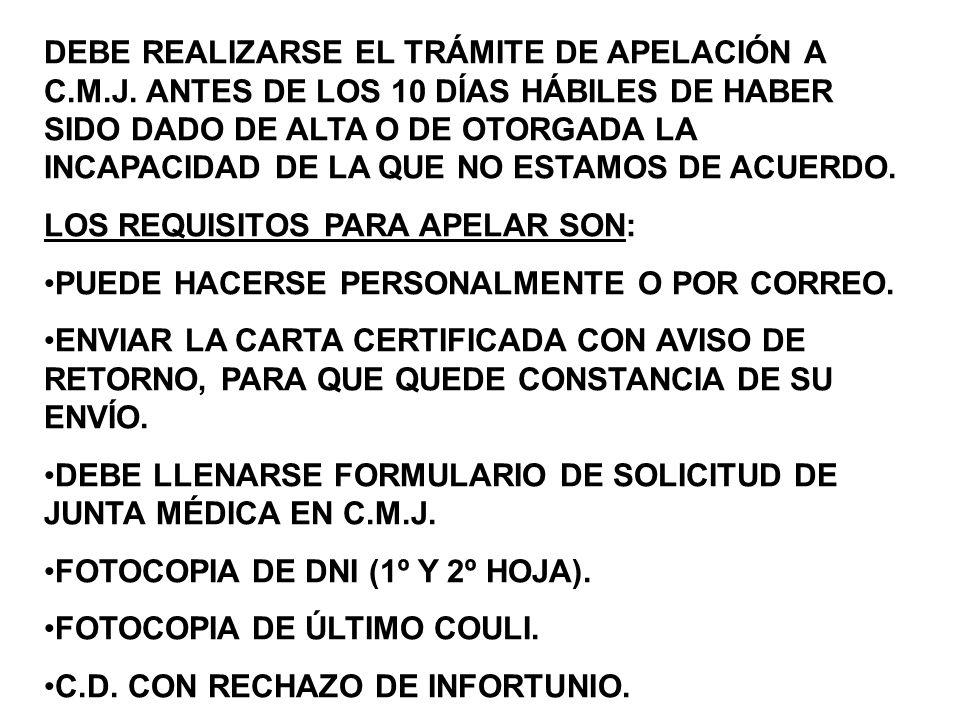 DEBE REALIZARSE EL TRÁMITE DE APELACIÓN A C.M.J.