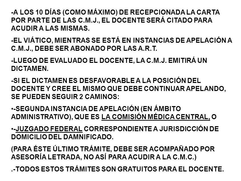 -A LOS 10 DÍAS (COMO MÁXIMO) DE RECEPCIONADA LA CARTA POR PARTE DE LAS C.M.J., EL DOCENTE SERÁ CITADO PARA ACUDIR A LAS MISMAS.