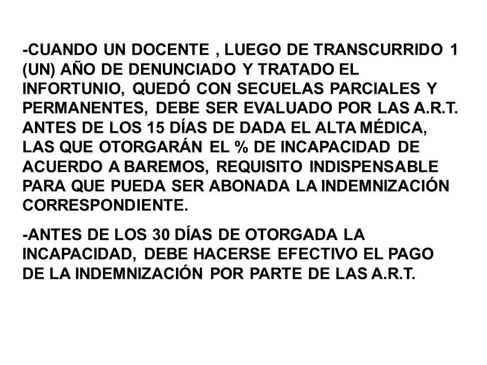 -CUANDO UN DOCENTE, LUEGO DE TRANSCURRIDO 1 (UN) AÑO DE DENUNCIADO Y TRATADO EL INFORTUNIO, QUEDÓ CON SECUELAS PARCIALES Y PERMANENTES, DEBE SER EVALUADO POR LAS A.R.T.