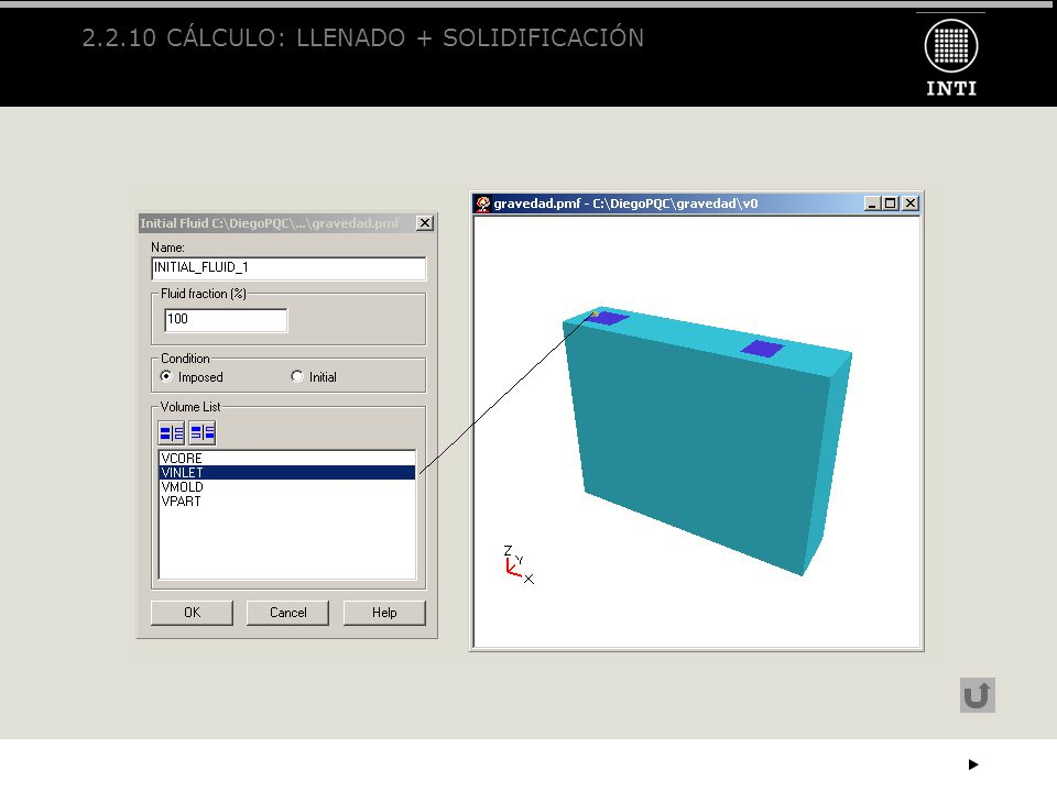 2.2.10 CÁLCULO: LLENADO + SOLIDIFICACIÓN