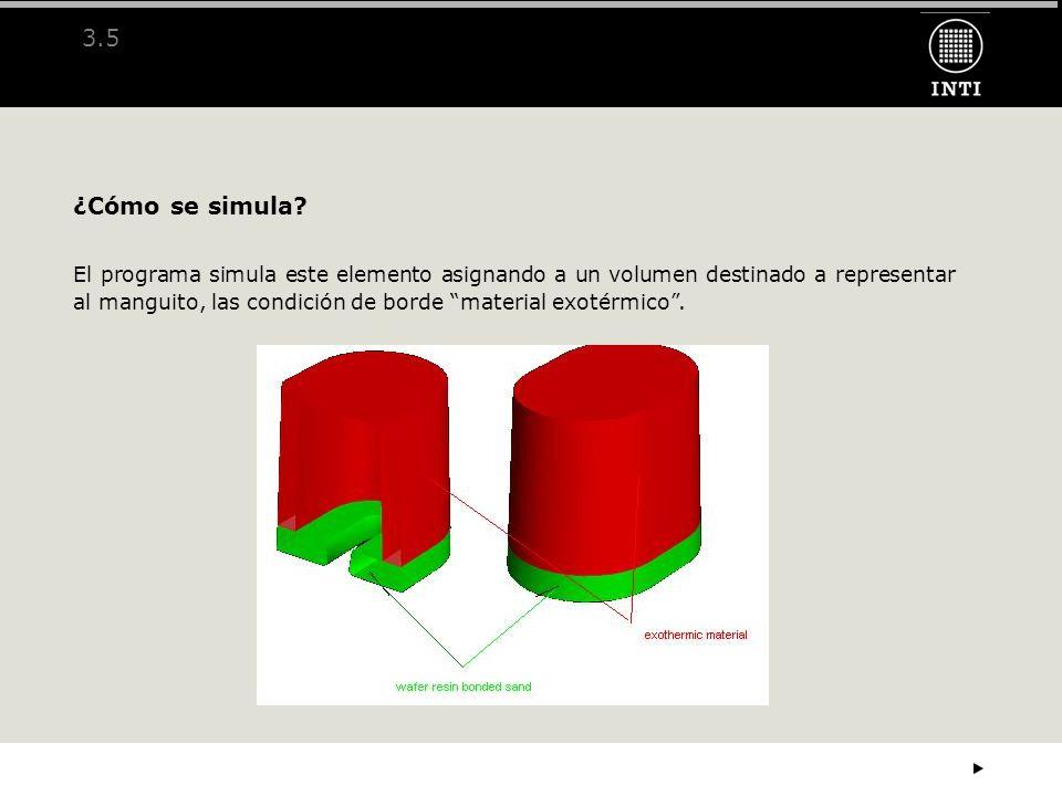 3.5 ¿Cómo se simula? El programa simula este elemento asignando a un volumen destinado a representar al manguito, las condición de borde material exot