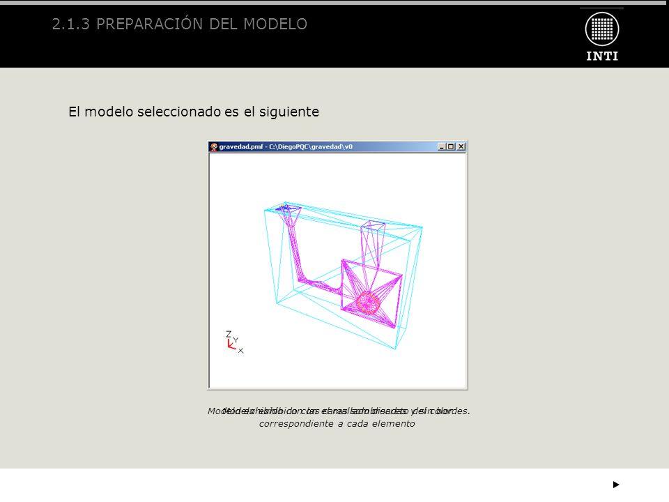 2.1.3 PREPARACIÓN DEL MODELO El modelo seleccionado es el siguiente Modelo exhibido con las caras sombreadas y sin bordes.Modelo exhibido con el malla