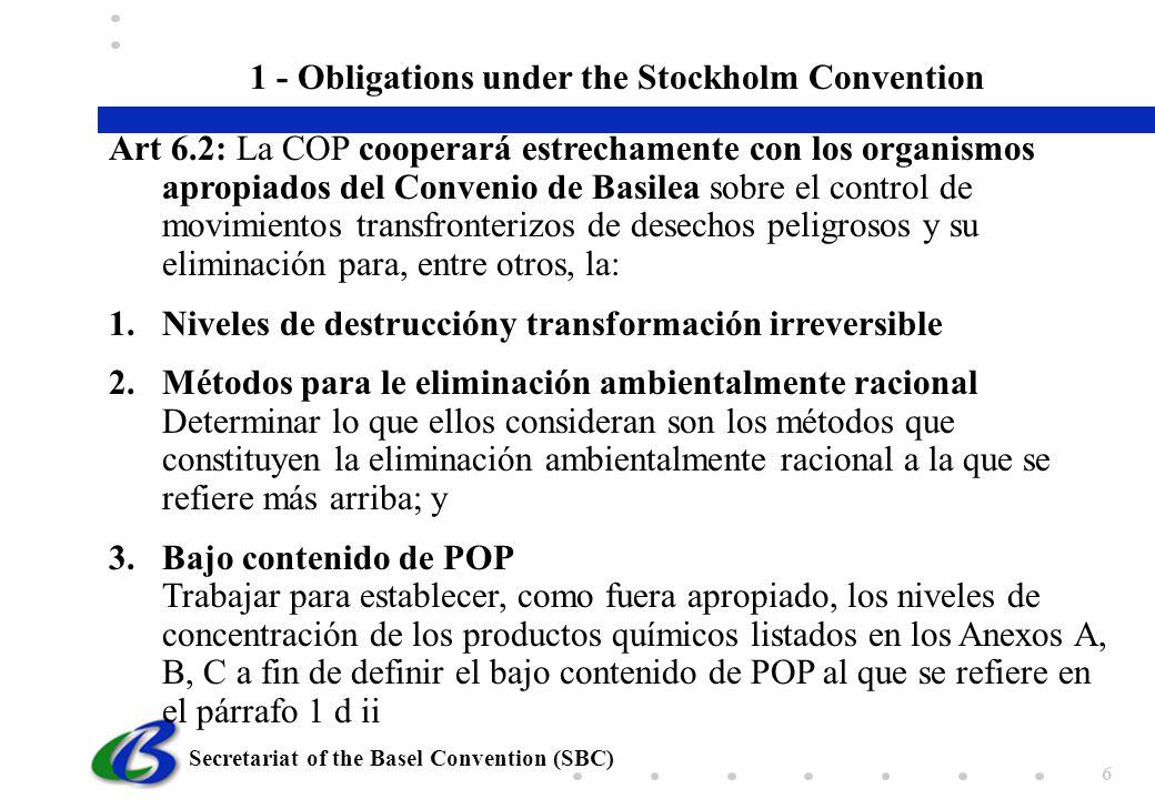 Secretariat of the Basel Convention (SBC) 6 Art 6.2: La COP cooperará estrechamente con los organismos apropiados del Convenio de Basilea sobre el con