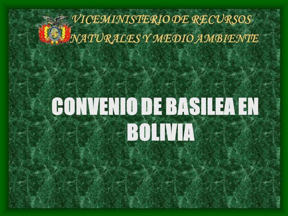 VICEMINISTERIO DE RECURSOS NATURALES Y MEDIO AMBIENTE CONVENIO DE BASILEA EN BOLIVIA