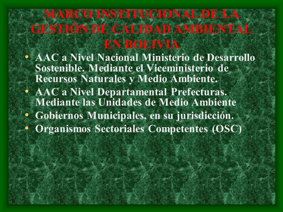 MARCO INSTITUCIONAL DE LA GESTIÓN DE CALIDAD AMBIENTAL EN BOLIVIA AAC a Nivel Nacional Ministerio de Desarrollo Sostenible. Mediante el Viceministerio