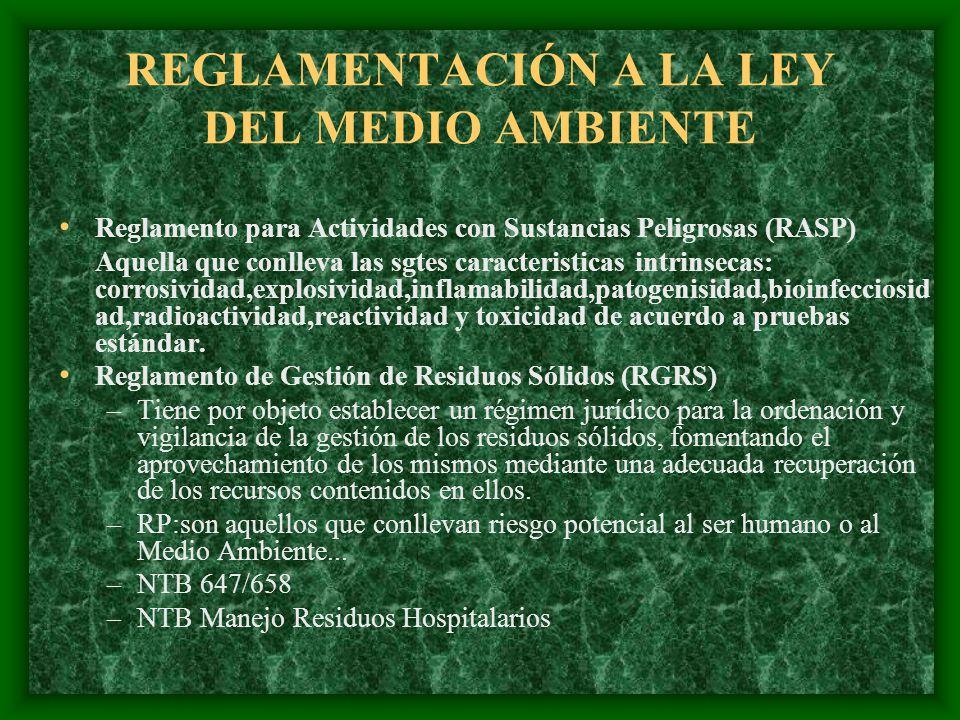 REGLAMENTACIÓN A LA LEY DEL MEDIO AMBIENTE Reglamento para Actividades con Sustancias Peligrosas (RASP) Aquella que conlleva las sgtes caracteristicas