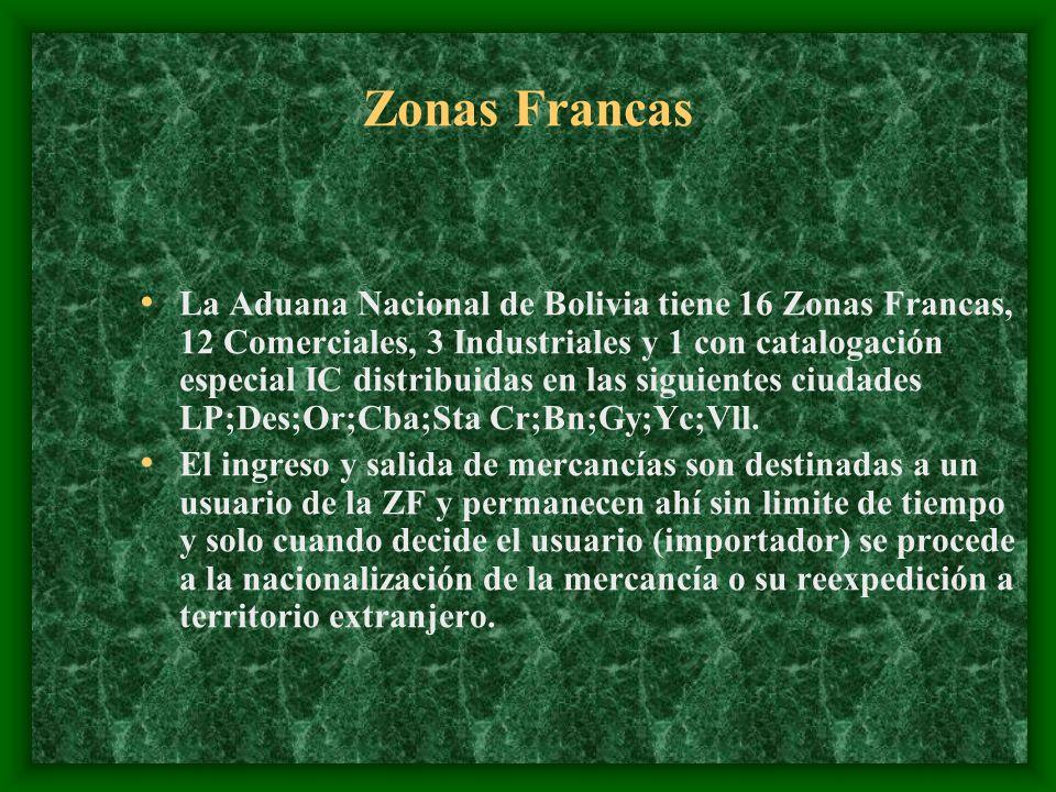 Zonas Francas La Aduana Nacional de Bolivia tiene 16 Zonas Francas, 12 Comerciales, 3 Industriales y 1 con catalogación especial IC distribuidas en las siguientes ciudades LP;Des;Or;Cba;Sta Cr;Bn;Gy;Yc;Vll.