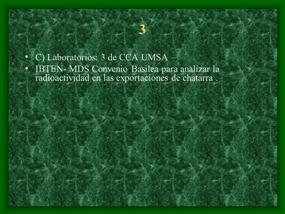3 C) Laboratorios: 3 de CCA UMSA – IBTEN- MDS Convenio Basilea para analizar la radioactividad en las exportaciones de chatarra.