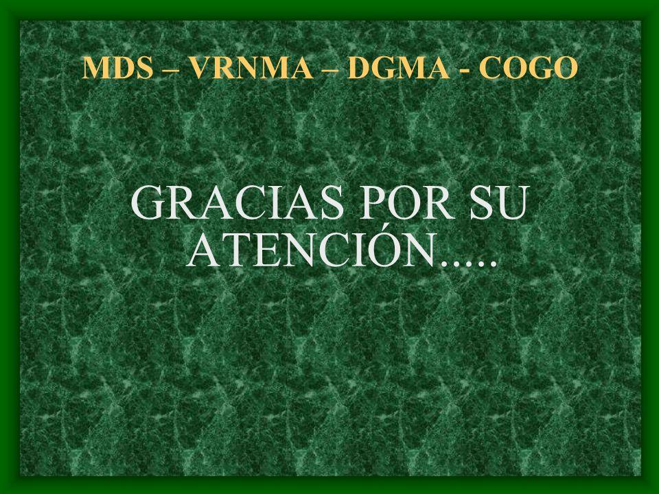 MDS – VRNMA – DGMA - COGO GRACIAS POR SU ATENCIÓN.....