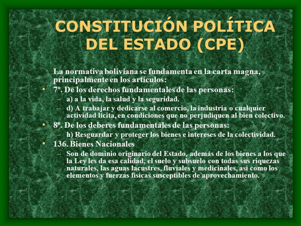 CONSTITUCIÓN POLÍTICA DEL ESTADO (CPE) La normativa boliviana se fundamenta en la carta magna, principalmente en los artículos: 7º. De los derechos fu
