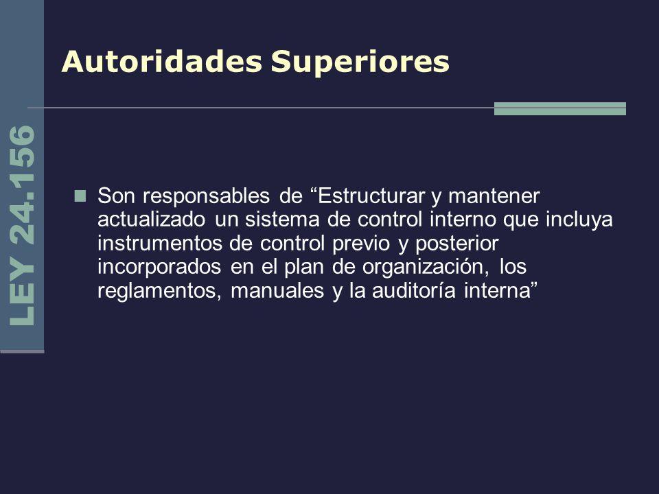 Autoridades Superiores Son responsables de Estructurar y mantener actualizado un sistema de control interno que incluya instrumentos de control previo
