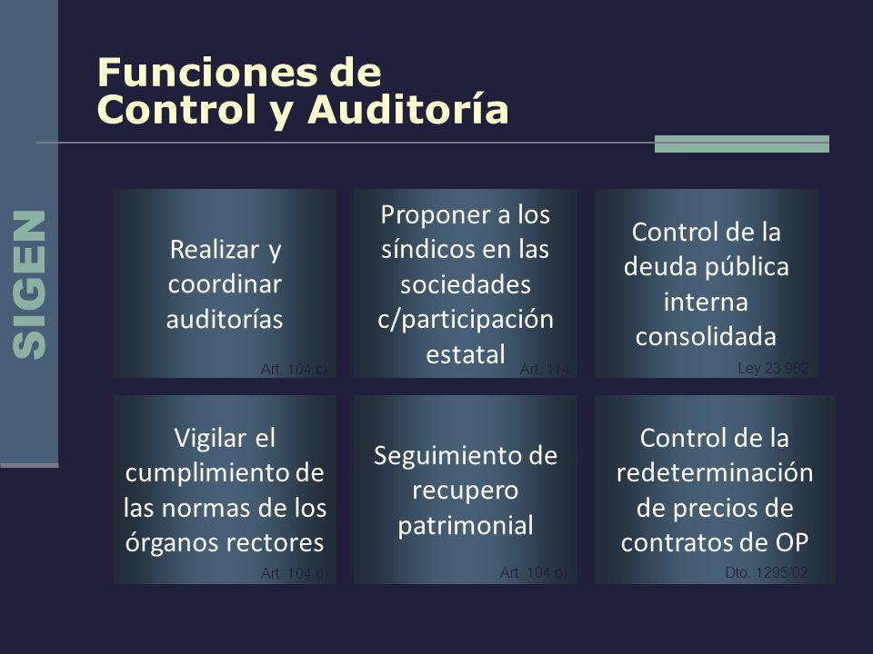 Funciones de Control y Auditoría Vigilar el cumplimiento de las normas de los órganos rectores Realizar y coordinar auditorías Proponer a los síndicos