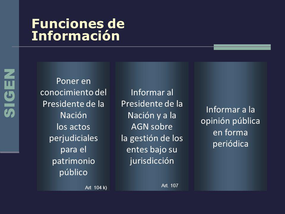 Funciones de Información Informar a la opinión pública en forma periódica Informar al Presidente de la Nación y a la AGN sobre la gestión de los entes