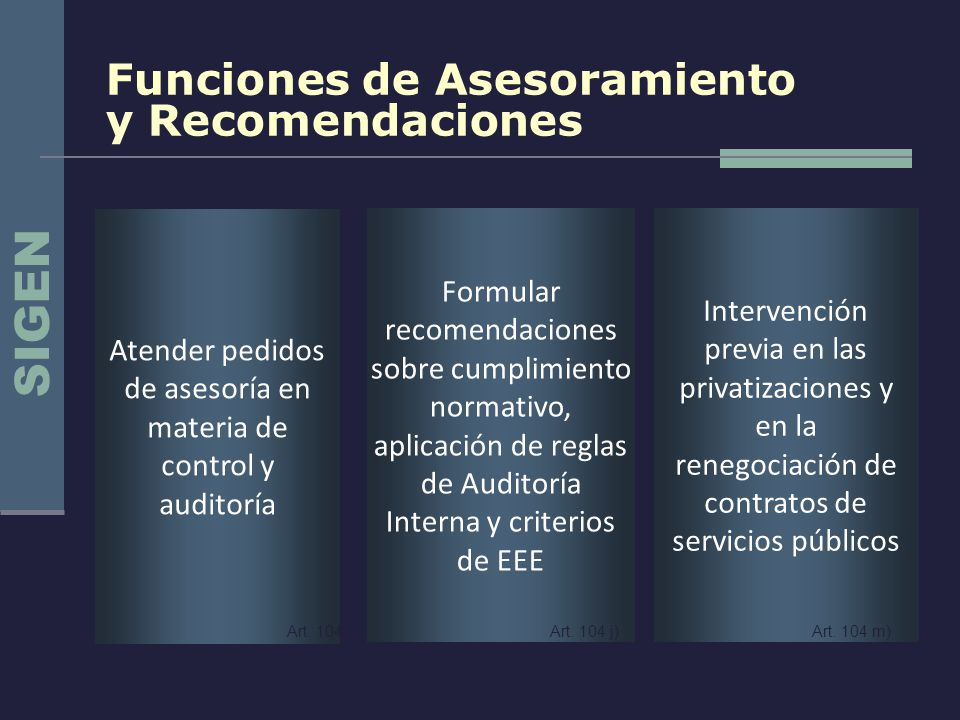 Funciones de Asesoramiento y Recomendaciones Intervención previa en las privatizaciones y en la renegociación de contratos de servicios públicos Formu