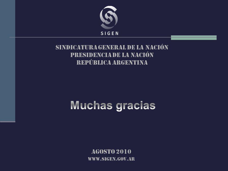 SINDICATURA GENERAL DE LA Nación PRESIDENCIA DE LA Nación República argentina Agosto 2010 www.sigen.gov.ar