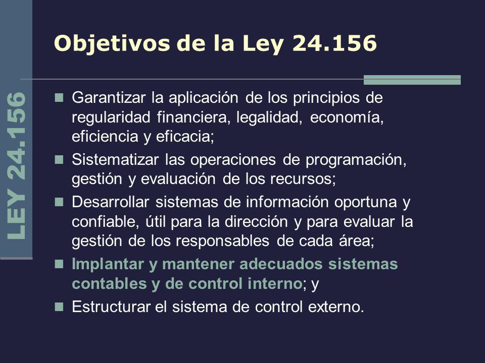 Objetivos de la Ley 24.156 Garantizar la aplicación de los principios de regularidad financiera, legalidad, economía, eficiencia y eficacia; Sistemati