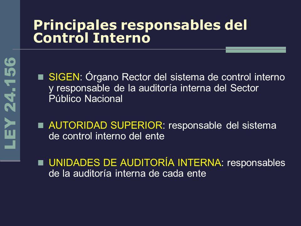 Principales responsables del Control Interno SIGEN: Órgano Rector del sistema de control interno y responsable de la auditoría interna del Sector Públ