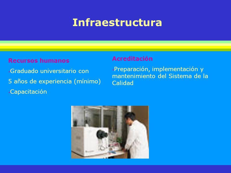 Infraestructura Recursos humanos Graduado universitario con 5 años de experiencia (mínimo) Capacitación Acreditación Preparación, implementación y man