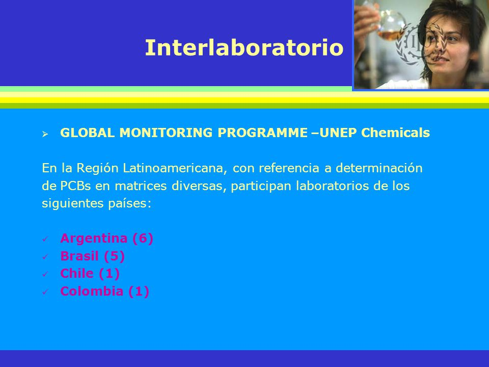Interlaboratorio GLOBAL MONITORING PROGRAMME –UNEP Chemicals En la Región Latinoamericana, con referencia a determinación dePCBs en matrices diversas,