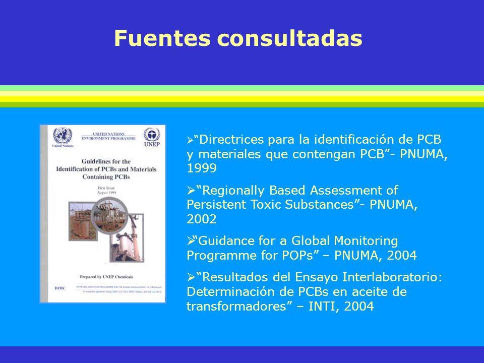 Fuentes consultadas Directrices para la identificación de PCB y materiales que contengan PCB- PNUMA, 1999 Regionally Based Assessment of Persistent To