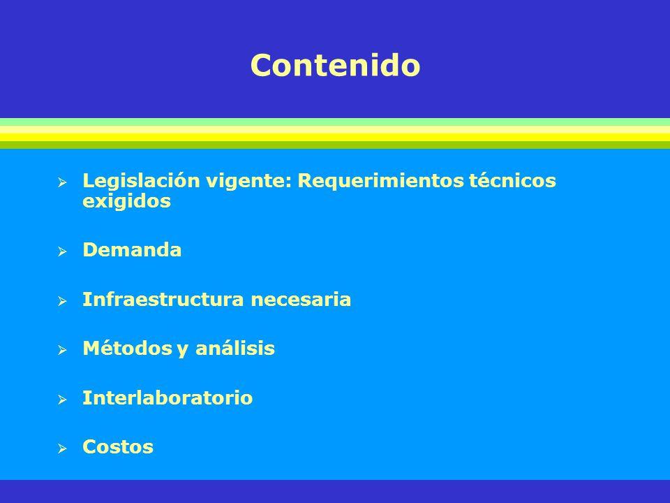 Contenido Legislación vigente: Requerimientos técnicos exigidos Demanda Infraestructura necesaria Métodos y análisis Interlaboratorio Costos