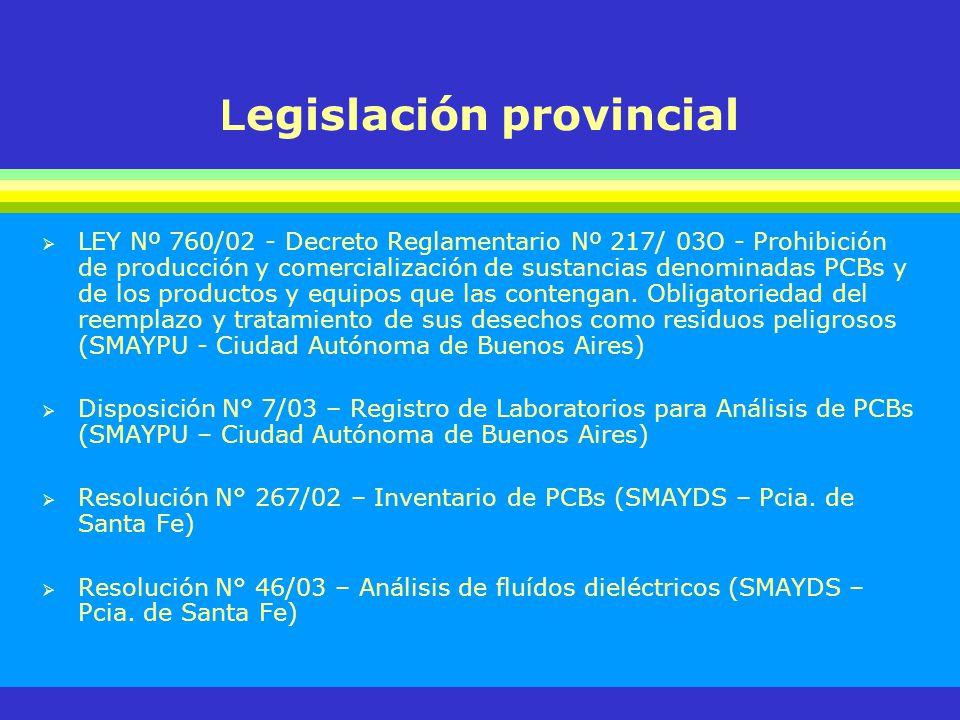 L egislación provincial LEY Nº 760/02 - Decreto Reglamentario Nº 217/ 03O - Prohibición de producción y comercialización de sustancias denominadas PCB