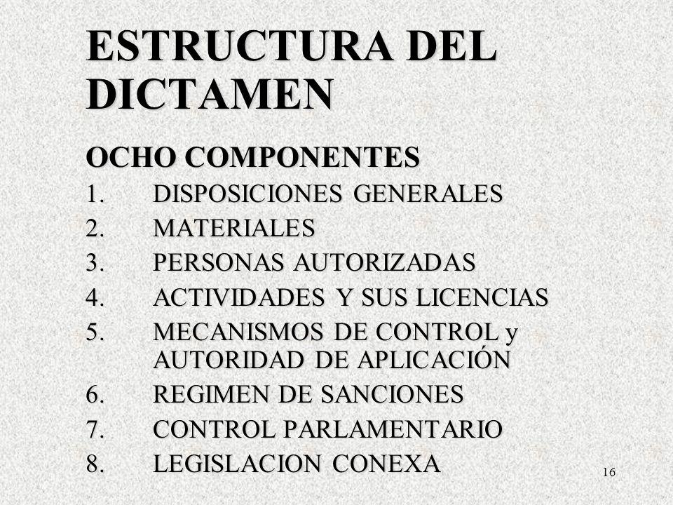 16 ESTRUCTURA DEL DICTAMEN OCHO COMPONENTES 1.DISPOSICIONES GENERALES 2.MATERIALES 3.PERSONAS AUTORIZADAS 4.ACTIVIDADES Y SUS LICENCIAS 5.MECANISMOS DE CONTROL y AUTORIDAD DE APLICACIÓN 6.REGIMEN DE SANCIONES 7.CONTROL PARLAMENTARIO 8.LEGISLACION CONEXA ESTRUCTURA DEL DICTAMEN OCHO COMPONENTES 1.DISPOSICIONES GENERALES 2.MATERIALES 3.PERSONAS AUTORIZADAS 4.ACTIVIDADES Y SUS LICENCIAS 5.MECANISMOS DE CONTROL y AUTORIDAD DE APLICACIÓN 6.REGIMEN DE SANCIONES 7.CONTROL PARLAMENTARIO 8.LEGISLACION CONEXA