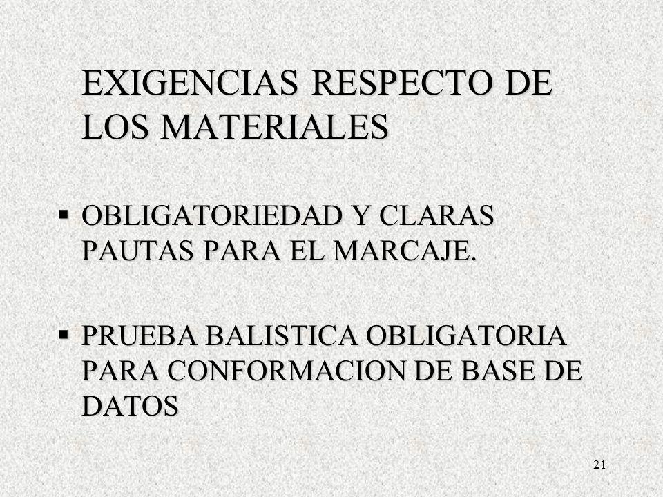 21 EXIGENCIAS RESPECTO DE LOS MATERIALES OBLIGATORIEDAD Y CLARAS PAUTAS PARA EL MARCAJE.