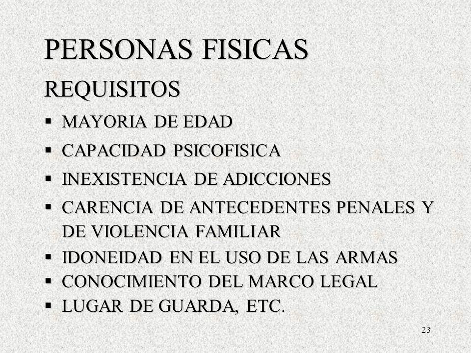 23 PERSONAS FISICAS REQUISITOS MAYORIA DE EDAD MAYORIA DE EDAD CAPACIDAD PSICOFISICA CAPACIDAD PSICOFISICA INEXISTENCIA DE ADICCIONES INEXISTENCIA DE ADICCIONES CARENCIA DE ANTECEDENTES PENALES Y DE VIOLENCIA FAMILIAR CARENCIA DE ANTECEDENTES PENALES Y DE VIOLENCIA FAMILIAR IDONEIDAD EN EL USO DE LAS ARMAS IDONEIDAD EN EL USO DE LAS ARMAS CONOCIMIENTO DEL MARCO LEGAL CONOCIMIENTO DEL MARCO LEGAL LUGAR DE GUARDA, ETC.