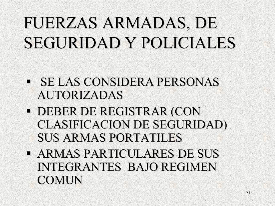 30 FUERZAS ARMADAS, DE SEGURIDAD Y POLICIALES SE LAS CONSIDERA PERSONAS AUTORIZADAS SE LAS CONSIDERA PERSONAS AUTORIZADAS DEBER DE REGISTRAR (CON CLASIFICACION DE SEGURIDAD) SUS ARMAS PORTATILES DEBER DE REGISTRAR (CON CLASIFICACION DE SEGURIDAD) SUS ARMAS PORTATILES ARMAS PARTICULARES DE SUS INTEGRANTES BAJO REGIMEN COMUN ARMAS PARTICULARES DE SUS INTEGRANTES BAJO REGIMEN COMUN SE LAS CONSIDERA PERSONAS AUTORIZADAS SE LAS CONSIDERA PERSONAS AUTORIZADAS DEBER DE REGISTRAR (CON CLASIFICACION DE SEGURIDAD) SUS ARMAS PORTATILES DEBER DE REGISTRAR (CON CLASIFICACION DE SEGURIDAD) SUS ARMAS PORTATILES ARMAS PARTICULARES DE SUS INTEGRANTES BAJO REGIMEN COMUN ARMAS PARTICULARES DE SUS INTEGRANTES BAJO REGIMEN COMUN