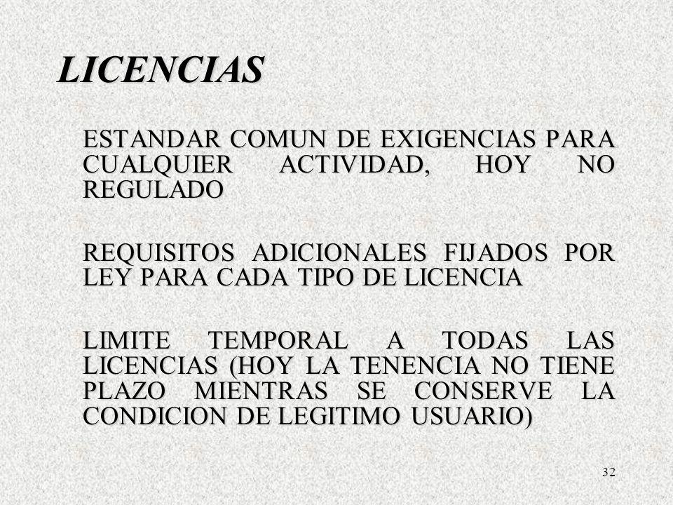 32 LICENCIAS ESTANDAR COMUN DE EXIGENCIAS PARA CUALQUIER ACTIVIDAD, HOY NO REGULADO REQUISITOS ADICIONALES FIJADOS POR LEY PARA CADA TIPO DE LICENCIA LIMITE TEMPORAL A TODAS LAS LICENCIAS (HOY LA TENENCIA NO TIENE PLAZO MIENTRAS SE CONSERVE LA CONDICION DE LEGITIMO USUARIO) LICENCIAS ESTANDAR COMUN DE EXIGENCIAS PARA CUALQUIER ACTIVIDAD, HOY NO REGULADO REQUISITOS ADICIONALES FIJADOS POR LEY PARA CADA TIPO DE LICENCIA LIMITE TEMPORAL A TODAS LAS LICENCIAS (HOY LA TENENCIA NO TIENE PLAZO MIENTRAS SE CONSERVE LA CONDICION DE LEGITIMO USUARIO)