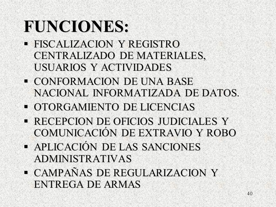 40 FUNCIONES: FISCALIZACION Y REGISTRO CENTRALIZADO DE MATERIALES, USUARIOS Y ACTIVIDADES FISCALIZACION Y REGISTRO CENTRALIZADO DE MATERIALES, USUARIOS Y ACTIVIDADES CONFORMACION DE UNA BASE NACIONAL INFORMATIZADA DE DATOS.
