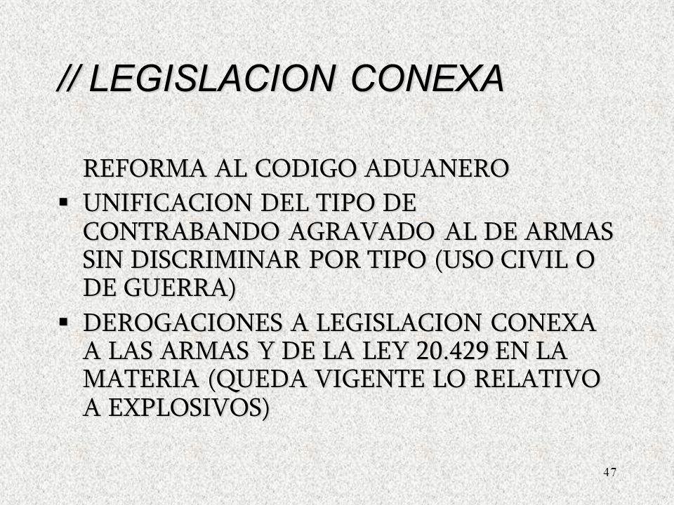 47 // LEGISLACION CONEXA REFORMA AL CODIGO ADUANERO UNIFICACION DEL TIPO DE CONTRABANDO AGRAVADO AL DE ARMAS SIN DISCRIMINAR POR TIPO (USO CIVIL O DE GUERRA) UNIFICACION DEL TIPO DE CONTRABANDO AGRAVADO AL DE ARMAS SIN DISCRIMINAR POR TIPO (USO CIVIL O DE GUERRA) DEROGACIONES A LEGISLACION CONEXA A LAS ARMAS Y DE LA LEY 20.429 EN LA MATERIA (QUEDA VIGENTE LO RELATIVO A EXPLOSIVOS) DEROGACIONES A LEGISLACION CONEXA A LAS ARMAS Y DE LA LEY 20.429 EN LA MATERIA (QUEDA VIGENTE LO RELATIVO A EXPLOSIVOS) // LEGISLACION CONEXA REFORMA AL CODIGO ADUANERO UNIFICACION DEL TIPO DE CONTRABANDO AGRAVADO AL DE ARMAS SIN DISCRIMINAR POR TIPO (USO CIVIL O DE GUERRA) UNIFICACION DEL TIPO DE CONTRABANDO AGRAVADO AL DE ARMAS SIN DISCRIMINAR POR TIPO (USO CIVIL O DE GUERRA) DEROGACIONES A LEGISLACION CONEXA A LAS ARMAS Y DE LA LEY 20.429 EN LA MATERIA (QUEDA VIGENTE LO RELATIVO A EXPLOSIVOS) DEROGACIONES A LEGISLACION CONEXA A LAS ARMAS Y DE LA LEY 20.429 EN LA MATERIA (QUEDA VIGENTE LO RELATIVO A EXPLOSIVOS)