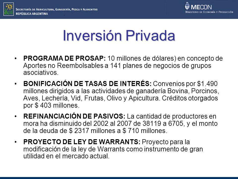 Inversión Privada PROGRAMA DE PROSAP: 10 millones de dólares) en concepto de Aportes no Reembolsables a 141 planes de negocios de grupos asociativos.