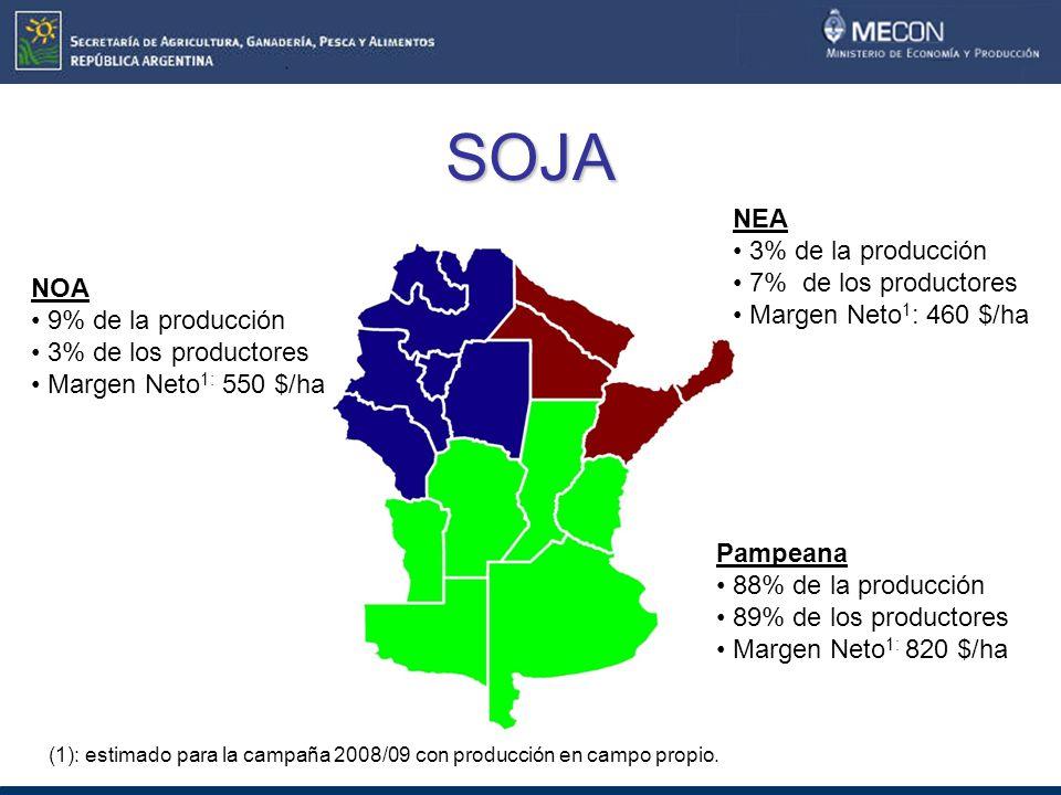 SOJA NOA 9% de la producción 3% de los productores Margen Neto 1: 550 $/ha NEA 3% de la producción 7% de los productores Margen Neto 1 : 460 $/ha Pampeana 88% de la producción 89% de los productores Margen Neto 1: 820 $/ha (1): estimado para la campaña 2008/09 con producción en campo propio.