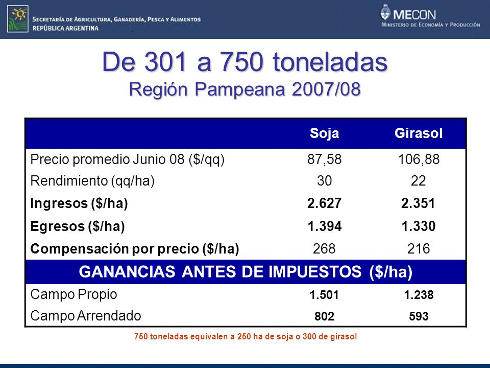 De 301 a 750 toneladas Región Pampeana 2007/08 SojaGirasol Precio promedio Junio 08 ($/qq)87,58106,88 Rendimiento (qq/ha)3022 Ingresos ($/ha)2.6272.351 Egresos ($/ha)1.3941.330 Compensación por precio ($/ha)268216 GANANCIAS ANTES DE IMPUESTOS ($/ha) Campo Propio 1.5011.238 Campo Arrendado 802593 750 toneladas equivalen a 250 ha de soja o 300 de girasol