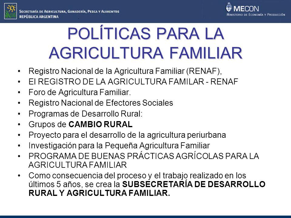 POLÍTICAS PARA LA AGRICULTURA FAMILIAR Registro Nacional de la Agricultura Familiar (RENAF), El REGISTRO DE LA AGRICULTURA FAMILAR - RENAF Foro de Agricultura Familiar.