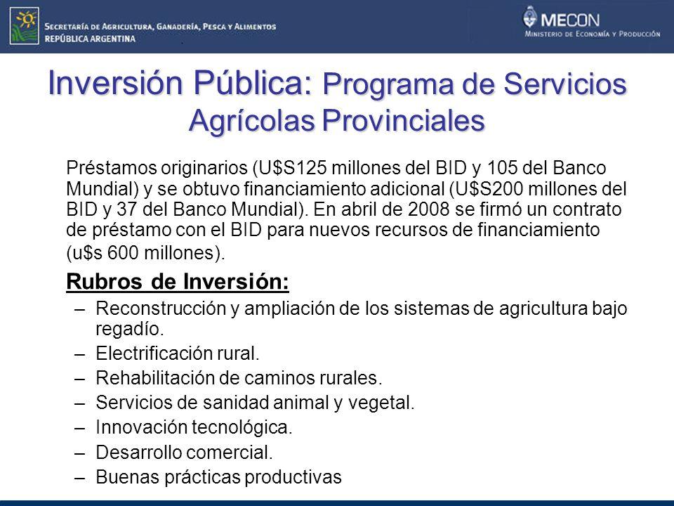 Inversión Pública: Programa de Servicios Agrícolas Provinciales Préstamos originarios (U$S125 millones del BID y 105 del Banco Mundial) y se obtuvo financiamiento adicional (U$S200 millones del BID y 37 del Banco Mundial).