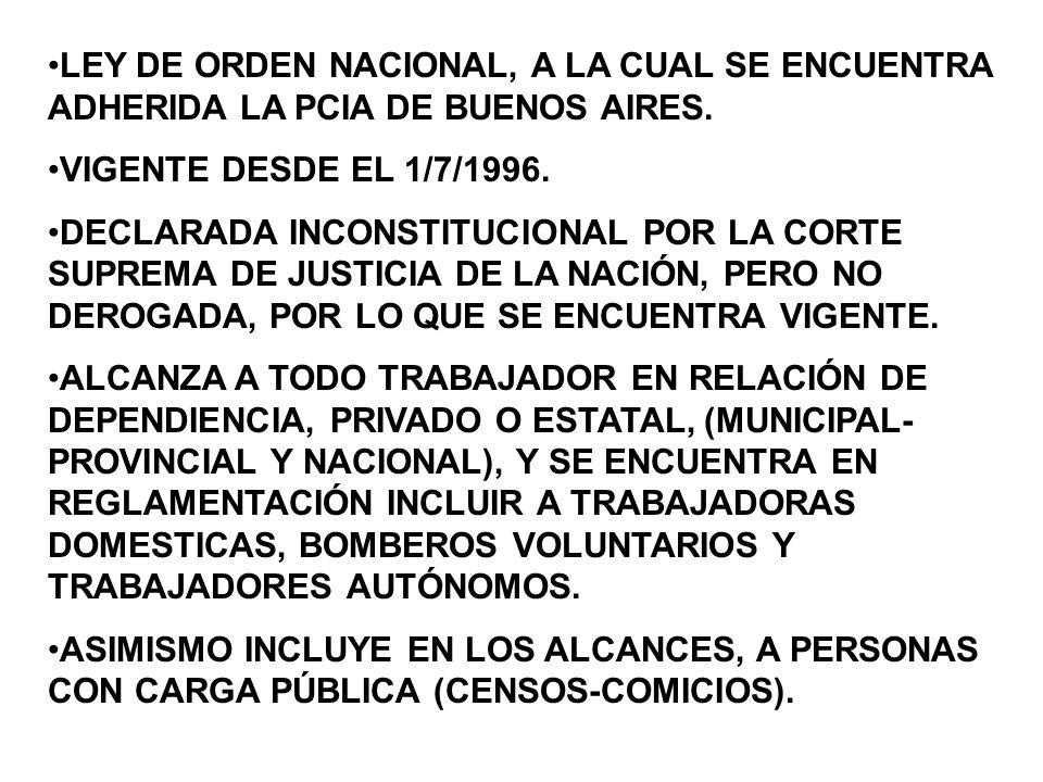 LEY DE ORDEN NACIONAL, A LA CUAL SE ENCUENTRA ADHERIDA LA PCIA DE BUENOS AIRES.