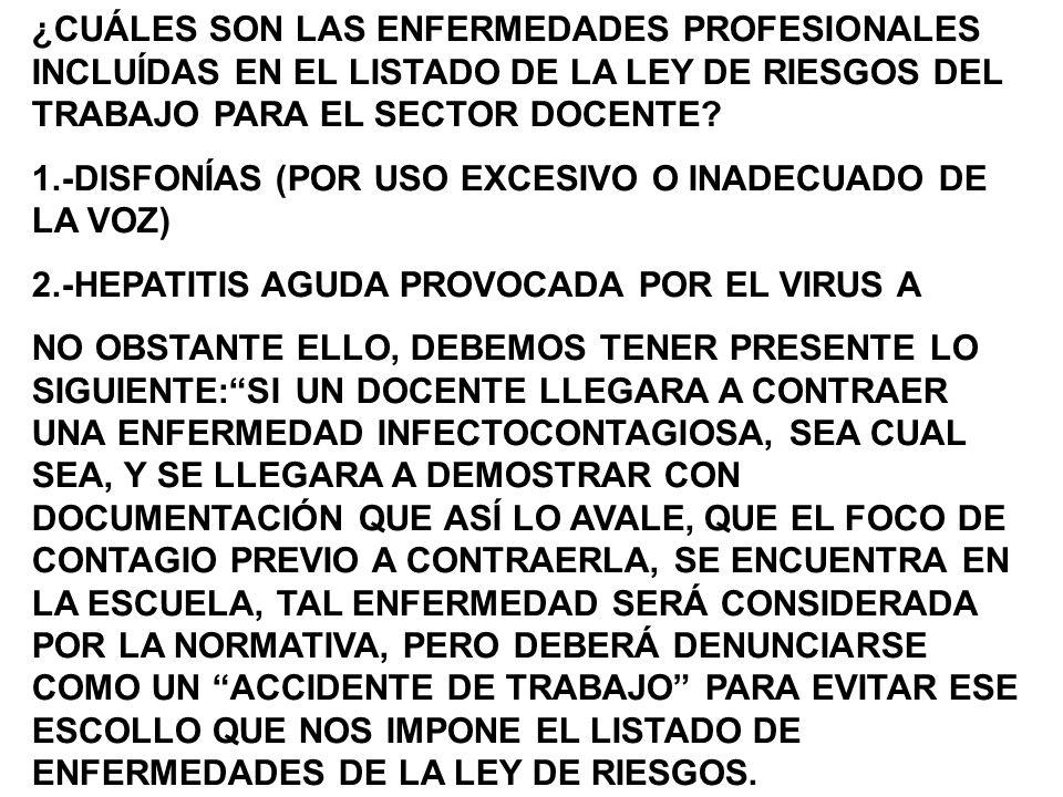¿CUÁLES SON LAS ENFERMEDADES PROFESIONALES INCLUÍDAS EN EL LISTADO DE LA LEY DE RIESGOS DEL TRABAJO PARA EL SECTOR DOCENTE.