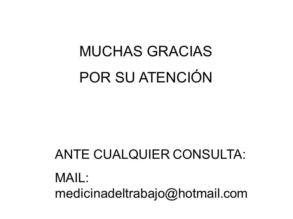 MUCHAS GRACIAS POR SU ATENCIÓN ANTE CUALQUIER CONSULTA: MAIL: medicinadeltrabajo@hotmail.com