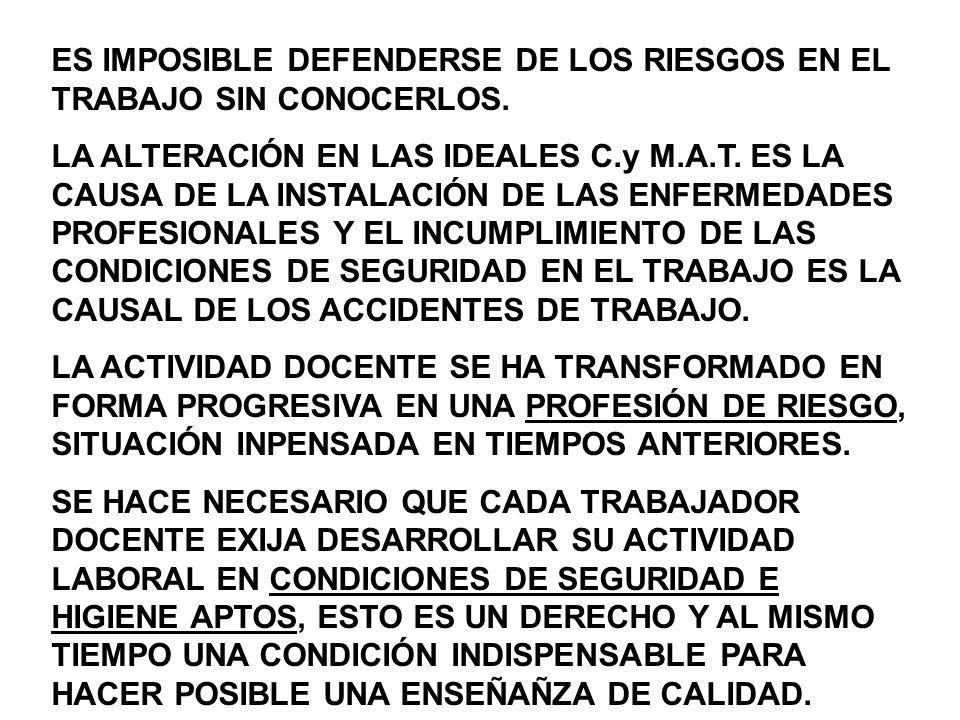 ES IMPOSIBLE DEFENDERSE DE LOS RIESGOS EN EL TRABAJO SIN CONOCERLOS.