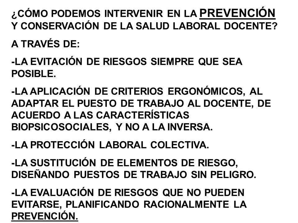 LA AUSENCIA DE LA CULTURA DE LA PREVENCIÓN IMPERANTE EN NUESTRO PAÍS, Y LAS EXCUSAS HISTÓRICAS Y PERMANENTES SOBRE FALTA DE RECURSOS PARA CUMPLIR LA NORMATIVA DE HIGIENE Y SEGURIDAD POR PARTE DE LOS EMPLEADORES, HAN CONTRIBUÍDO AL PROGRESIVO DETERIORO DE LA SALUD LABORAL DOCENTE, SIN DEJAR DE RECONOCER, POR CONTRAPARTIDA, QUE LAS EXIGENCIAS POR PARTE DE LOS TRABAJADORES EN LA APLICACIÓN DE LA PREVENCIÓN Y LA PROFUNDIZACIÓN DEL CONOCIMIENTO DE LA LEY, COMIENZAN A PRACTICARSE CUANDO EL INFORTUNIO, LAMENTABLEMENTE YA ESTÁ INSTALADO.