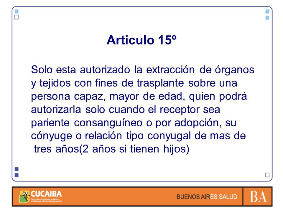 Articulo 15º Solo esta autorizado la extracción de órganos y tejidos con fines de trasplante sobre una persona capaz, mayor de edad, quien podrá autor