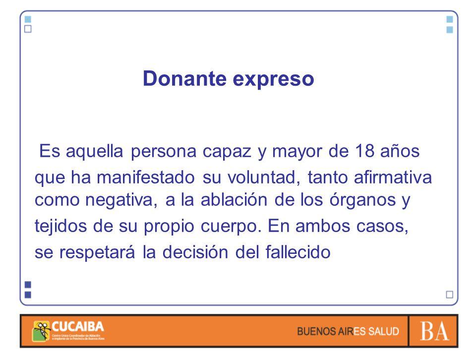 Donante expreso Es aquella persona capaz y mayor de 18 años que ha manifestado su voluntad, tanto afirmativa como negativa, a la ablación de los órgan