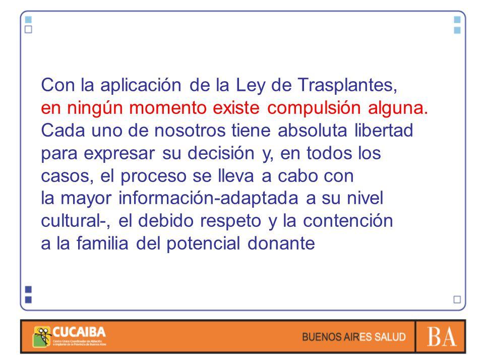 Con la aplicación de la Ley de Trasplantes, en ningún momento existe compulsión alguna. Cada uno de nosotros tiene absoluta libertad para expresar su