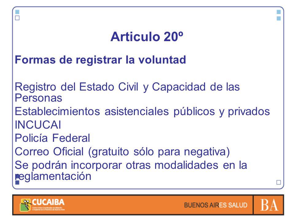 Articulo 20º Formas de registrar la voluntad Registro del Estado Civil y Capacidad de las Personas Establecimientos asistenciales públicos y privados