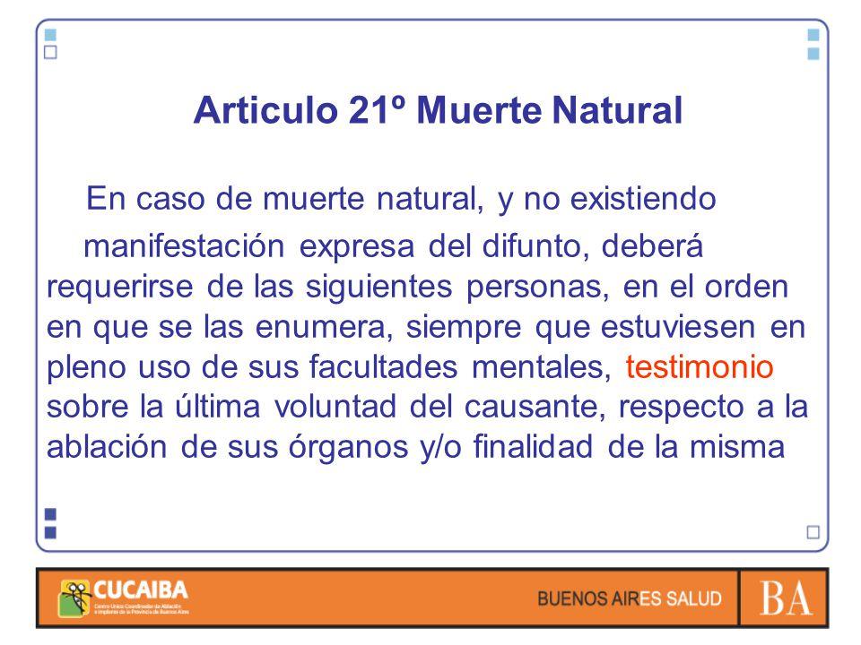 Articulo 21º Muerte Natural En caso de muerte natural, y no existiendo manifestación expresa del difunto, deberá requerirse de las siguientes personas