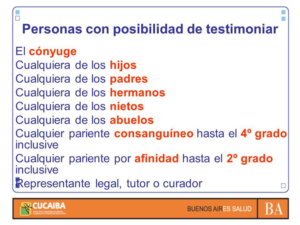 Personas con posibilidad de testimoniar El cónyuge Cualquiera de los hijos Cualquiera de los padres Cualquiera de los hermanos Cualquiera de los nieto