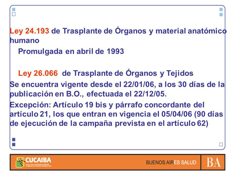 Ley 24.193 de Trasplante de Órganos y material anatómico humano Promulgada en abril de 1993 Ley 26.066 de Trasplante de Órganos y Tejidos Se encuentra
